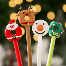 Mohamm 1Pc Christmas Cute Donuts Gel Ink Pen Snowman Reindeer Santa Claus Rollerball Pens for Kids School Office Supplies