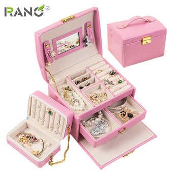 RANO boîte à bijoux en cuir multifonctionnel | Tiroir à trois niveaux, boîte de rangement de bijoux de mariage, boîte de cadeau, sac à fermeture éclair