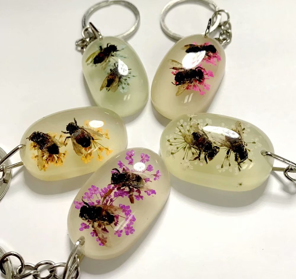 10 Pcs Double Bee Insect Color KeyChain Taxidermy Display