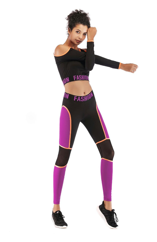 Sexy Strapless Back Hollow Yoga Set letra Patchwork elástico apretado manga larga ropa Leggings ropa deportiva entrenamiento Fitness Suit - 5