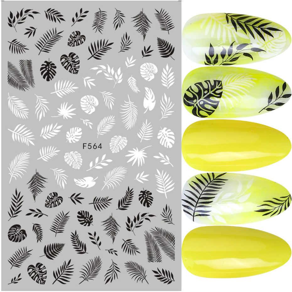 1pcs Nero Bianco 3D Unghie artistiche Adesivi Cursori Fiori Mandala Foglia Geometria Adesivo Decalcomanie Del Chiodo Foglio di Disegno Manicure TRF564-573