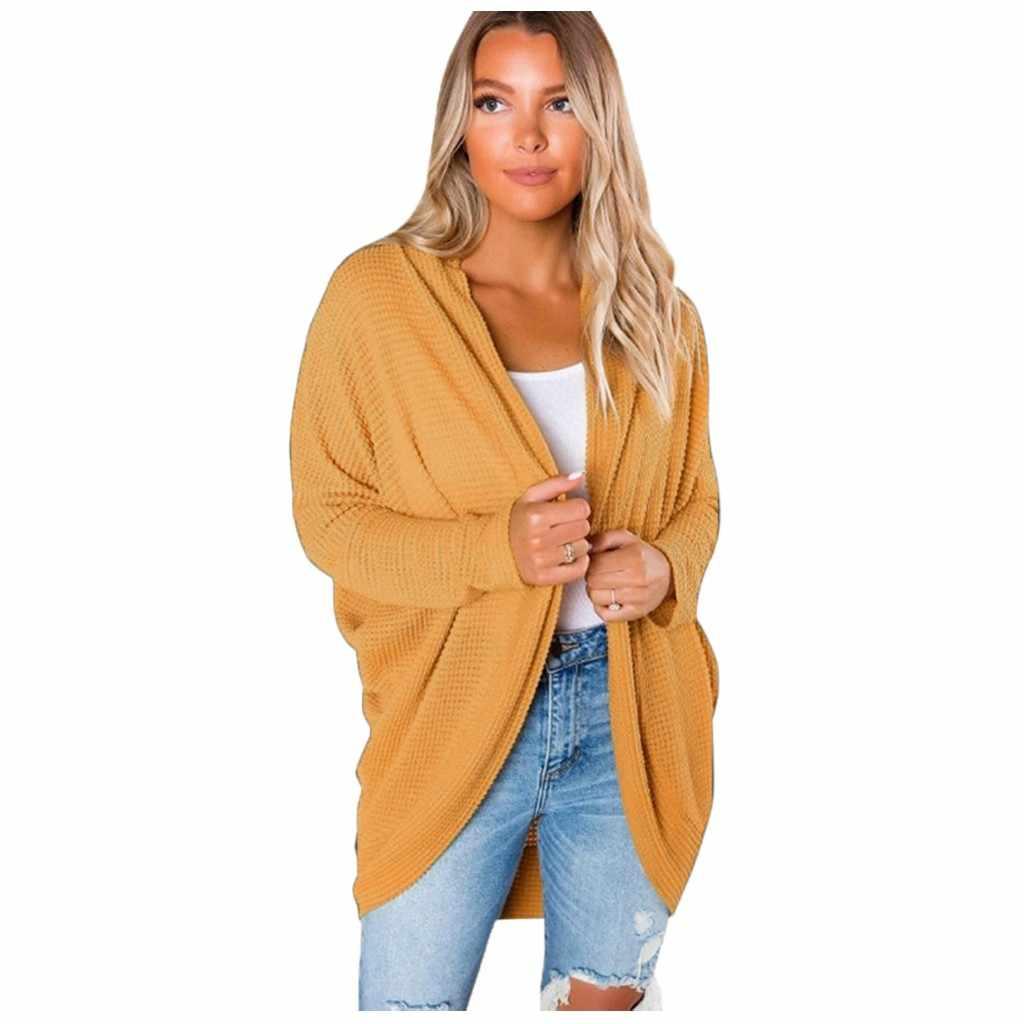 니트 스웨터 여성 긴 소매 니트 오픈 프론트 캐주얼 카디건 스웨터 겉옷 당겨 여성 nouveaute 2019 겨울