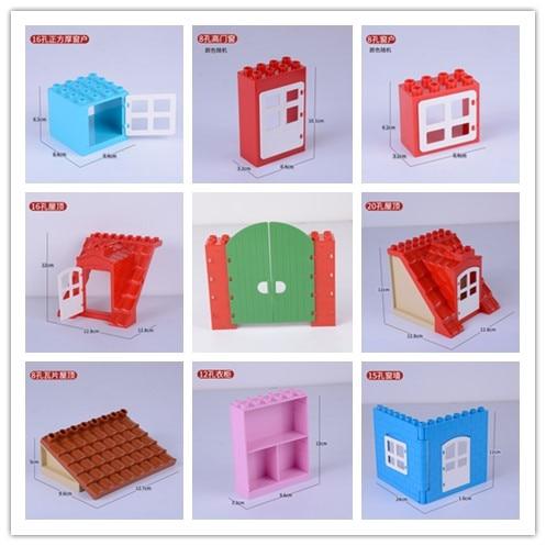 City Duplos Accessories Duplos Doors Windows Roofs Building Block Set DIY Bricks Toys Compatible Legoinglys Duploe For Children