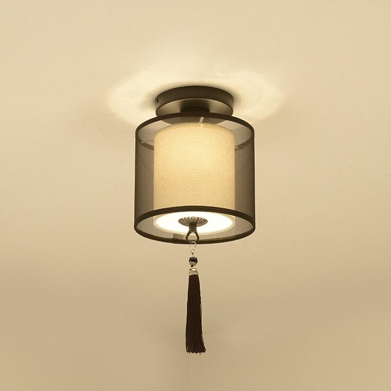 Image 2 - Классический японский светодиодный потолочный светильник винтажный Ретро подвесной светильник тканевый абажур поверхностное крепление китайский потолочный светильник-in Потолочные лампы from Лампы и освещение