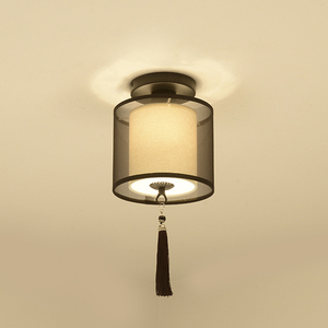 Image 2 - Classic Japanese Led Ceiling Lamp Vintage Retro Suspension Luminaire Fabric Shade Surface Mount Chinese Ceiling Light Fixtures