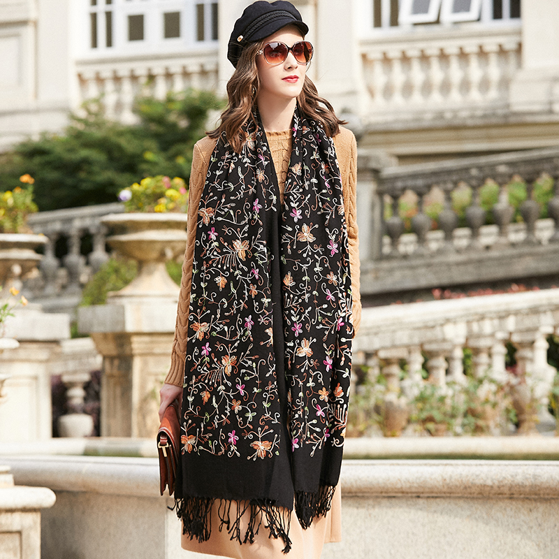 Image 5 - Wool Women Scarves Stoles Elegant Carf Warm Shawl Bandana Scarf  Luxury Brand Muslim Hijab Beach Blanket Face Shield FoulardWomens  Scarves