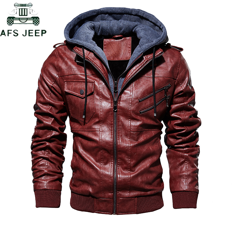 Military Hooded Oblique Zipper Motorcycle Leather Jacket Men 2019 Retro Fashion Autumn Winter Leather Jackets Coat Hombre M-4XL
