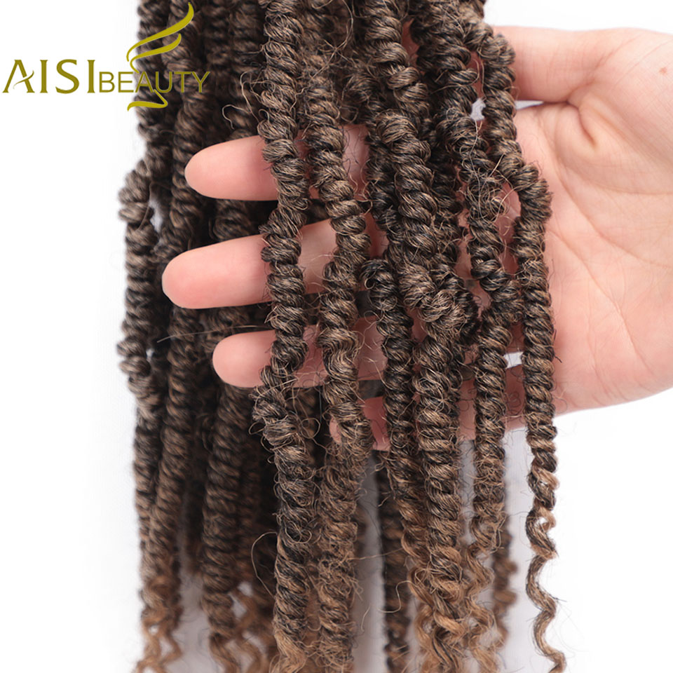 AISI BEAUTY Passion Spring Twists Synthetic Crotchet Hair Extensions Ombre Crochet Braids Pre Looped Fluffy Bomb Twist Braiding