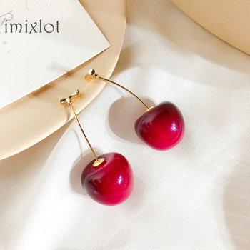 New Resin Cute romantic Round Women Dangle Earrings Red Cherry Fruit Earrings Bohemian Earrings For Women.jpg 350x350 - New Resin Cute/romantic Round Women Dangle Earrings Red Cherry Fruit Earrings Bohemian Earrings For Women Drops Earrings