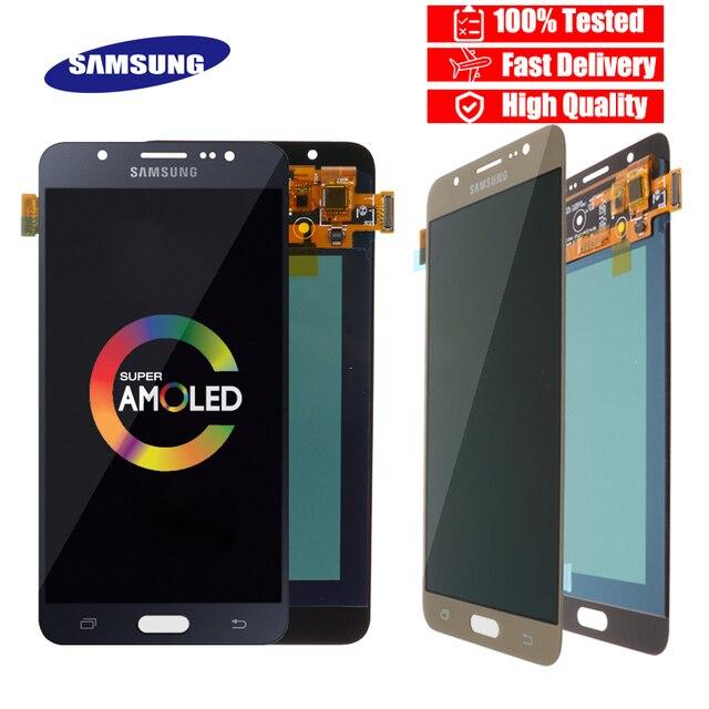 Original 5.5 Super Amoled LCD สำหรับ Samsung Galaxy J7 2016 J710 J710F J710M J710G จอแสดงผล LCD Touch Screen Digitizer เปลี่ยน