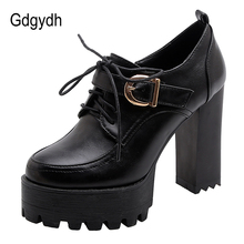 Gdgydh Womens Super High Heels Platform Shoes Office Party Shoes For Women Pumps Lace Up Spring Autumn Fashion Buckle Big Size fashion round toe women pumps big size 31 47 spring autumn women shoes fashion ruffles decoration lace up platform high heels