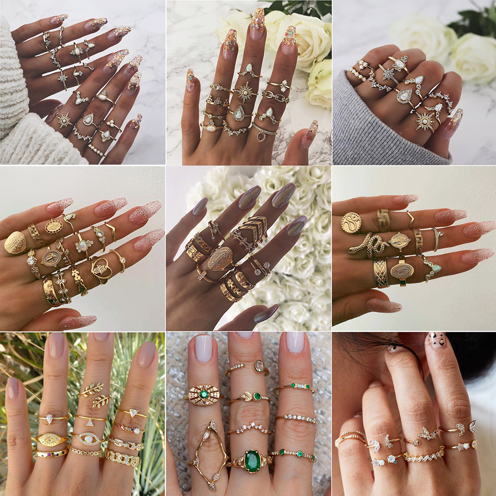 40 Styles Vintage Gold Star Moon Rings Set For Women BOHO Opal Crystal Midi Finger Ring 2019 Female Bohemian Jewelry Gifts