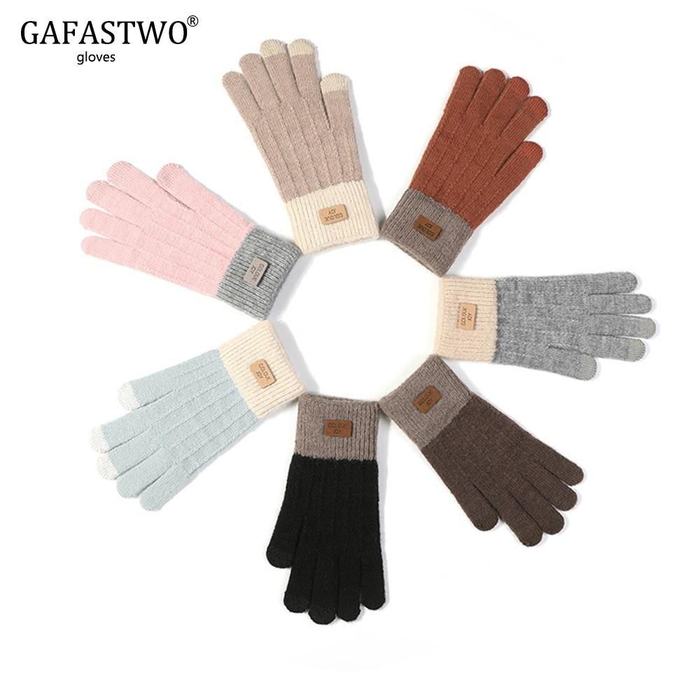 2019 New Fashion Imitation Cashmere Knit Touch Screen Women Gloves Ladies Winter Warm Antifreeze Plus Velvet Thick Gloves