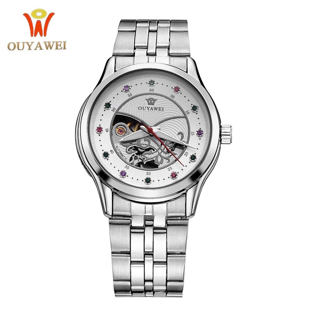 Luxury OUYAWEI Women Mechanical Watch Skeleton Design Top Brand Luxury Full Steel Waterproof Female Automatic Clock Montre Femme