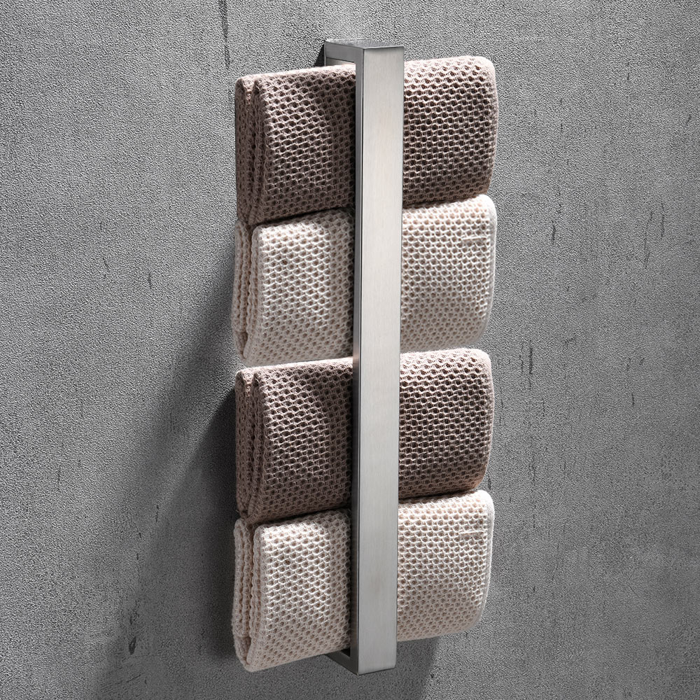 40cm Self-Adhesive Stainless Steel Towel Rack Washcloth Facecloth Holder Home Kitchen Bathroom Supplies
