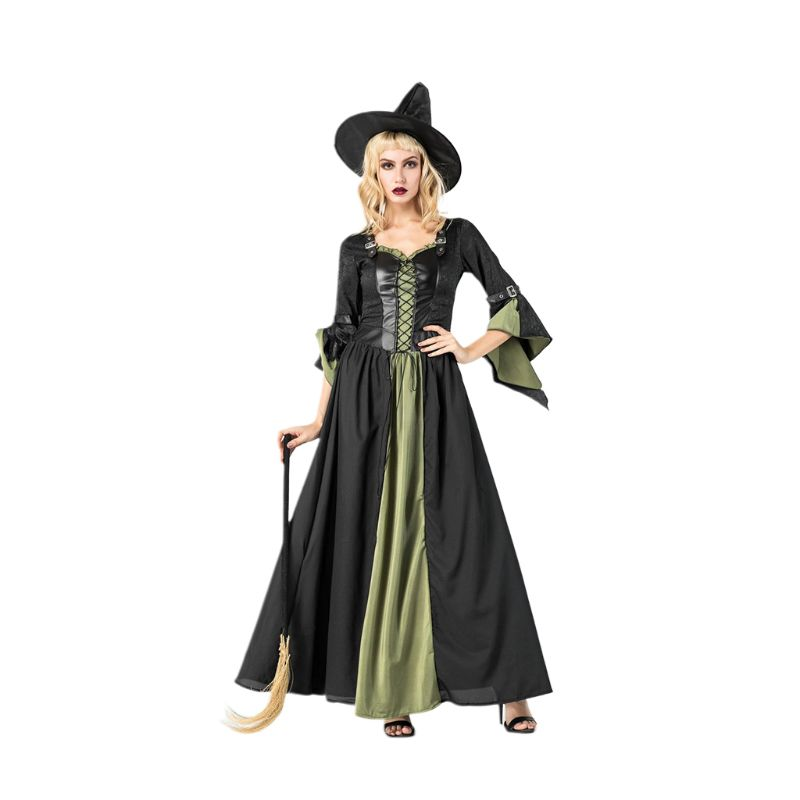 <font><b>Womens</b></font> <font><b>Sexy</b></font> Faux Leather Buckle <font><b>Witch</b></font> Maxi Long Dress <font><b>Halloween</b></font> Masquerade Party Cross Lace Up Carnival Cosplay Costume with Hat image