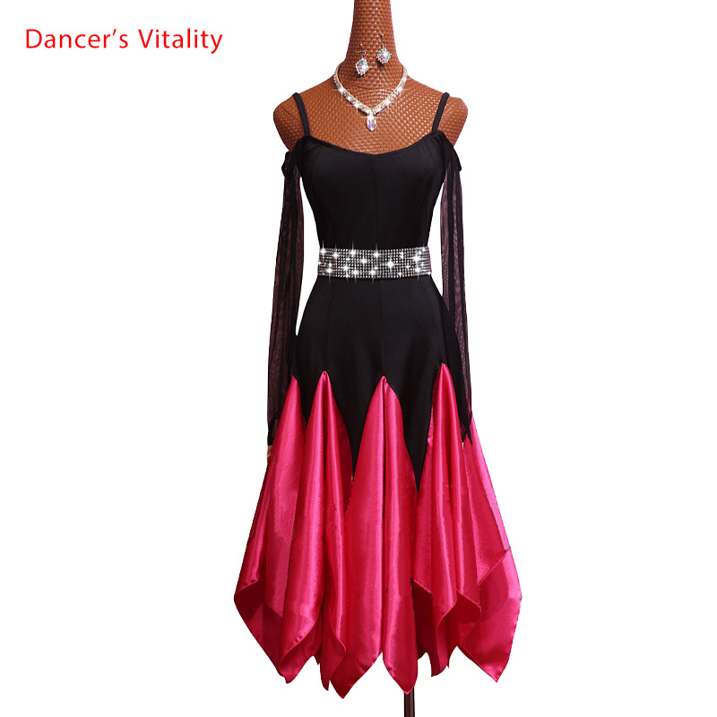 Custom Made Latin Ballroom Dance Dance Dress Women 2018 New Sexy Pleated Skirt Samba Latin Dance Competition Skirt Dreess