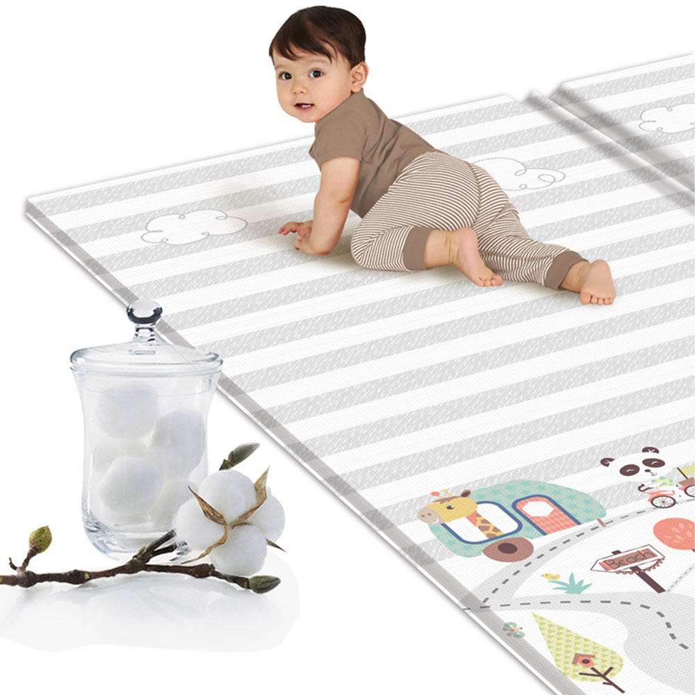 New Baby Silk Crawling Mat Folding Waterproof LDPE Thickened Children's Play Mats Kids Rug Home Or Outing Climbing Mat Toys