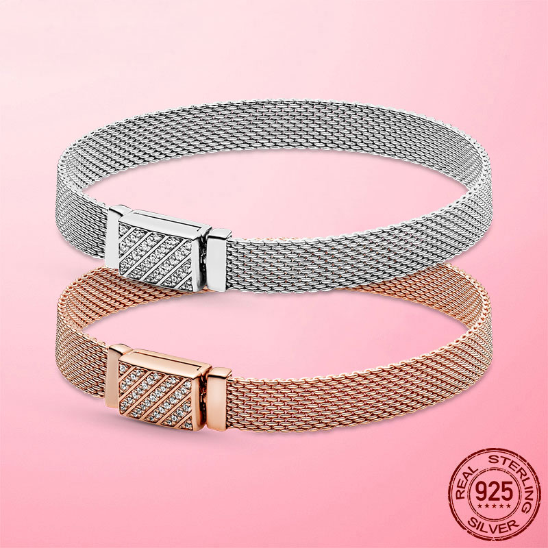 Femme Bracelet 925 Sterling Silver Rose Gold Color Reflexions Long Clasp Pave Bracelet for Women Sterling Silver Jewelry Gift