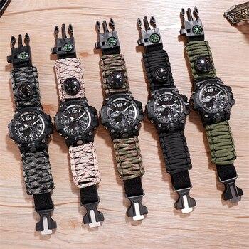 Outdoor Adventure Watch Compass Lighter Watches Men Quartz Electronic Luminous 5bar Waterproof Nylon Upgrade Strap - discount item  40% OFF Men's Watches