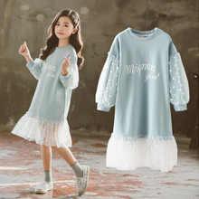 Moda 2019 dzieci dziewczyny sukienki z długim rękawem białe koronkowe ubrania wiosna jesień nastoletnia odzież sukienka dla dzieci sukienkowa bluza dresowa
