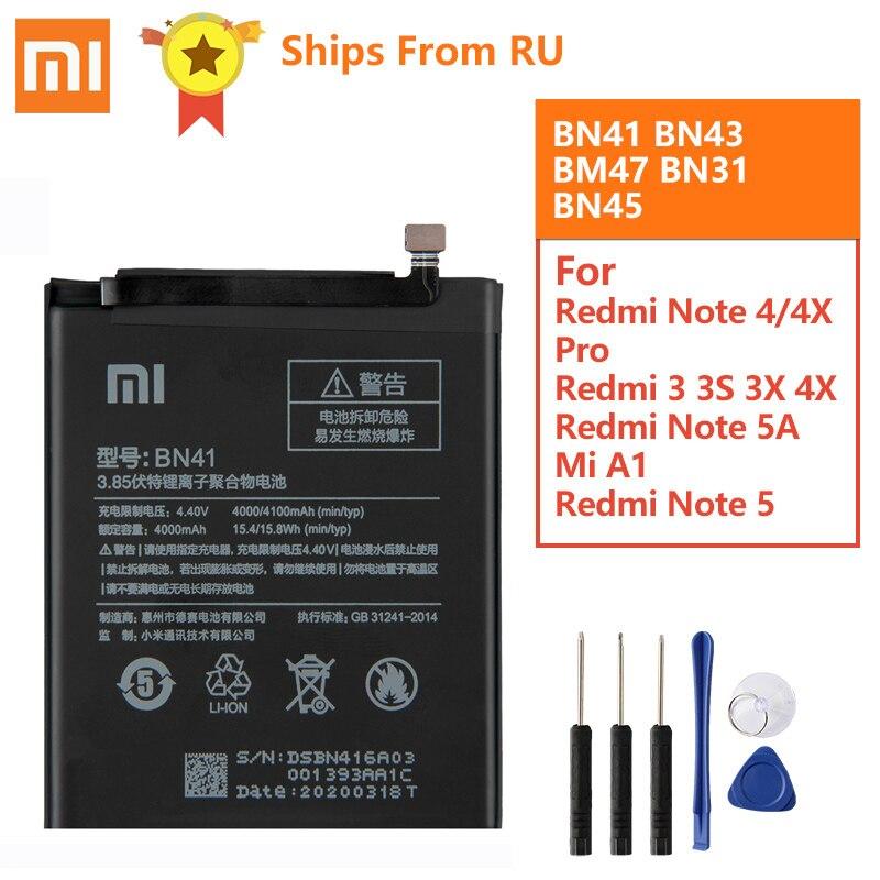 Original Battery BN41 BN43 BM47 For Xiaomi Redmi Note 4 Hongmi Note4 Pro Note4X MTK Helio X20 Redmi 3 3S Mi5X Mi Note2 BN31 BN45