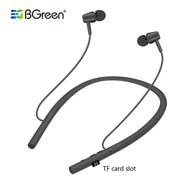 BGreen Bluetooth Sport Earphones Wireless Stereo Running Cycling Sports Headset Built in MP3 Player Support Micro SD TF Card