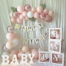Caja transparente con nombre de LETRA DE A-Z para adornos para fiesta de cumpleaños, caja de globos para baby shower para niños, nombre de 1 ° cumpleaños, babyshower