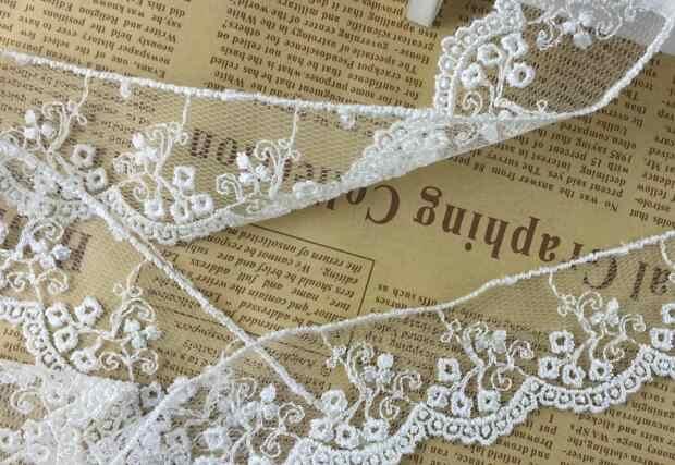 3.8 CENTIMETRI Largo di Lusso beige Ricamo del fiore della maglia tessuto di pizzo nastro trim FAI DA TE cucito collare di applique abito da sposa guipure decor