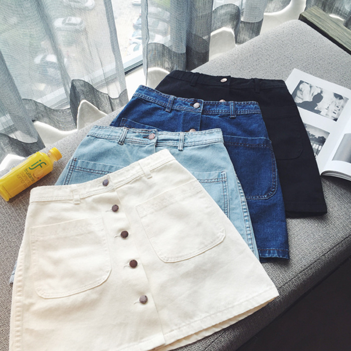2018 Spring And Autumn New Style High-waisted Denim Skirt Summer Wear For Women Korean Version Of The Package Hip A- Line Skirt