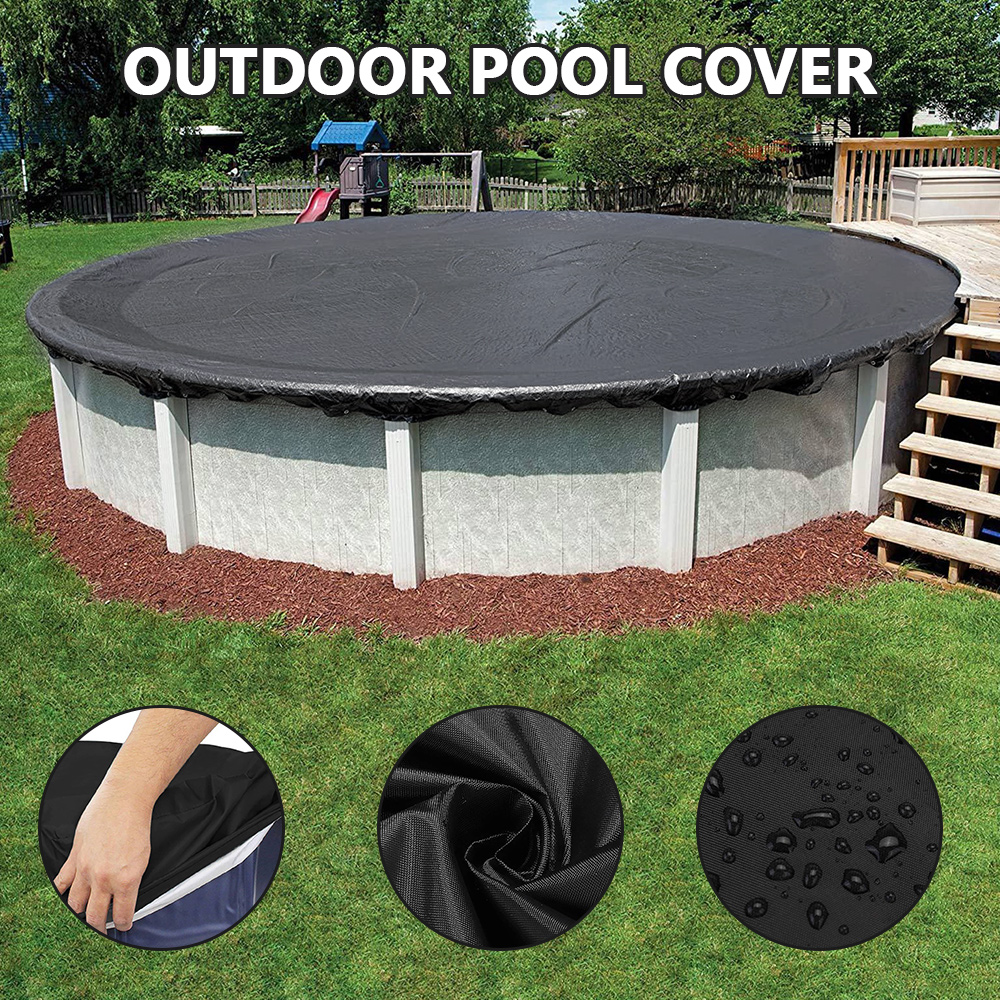 Hbbfef5b6d23e41ec9edfb5b49b6a1c851 - Round Pool Cover Foldable Black Bathtub Cover 210D Oxford Anti-UV Protector Spa Tub Dust Waterproof Cover Swimming Accessories