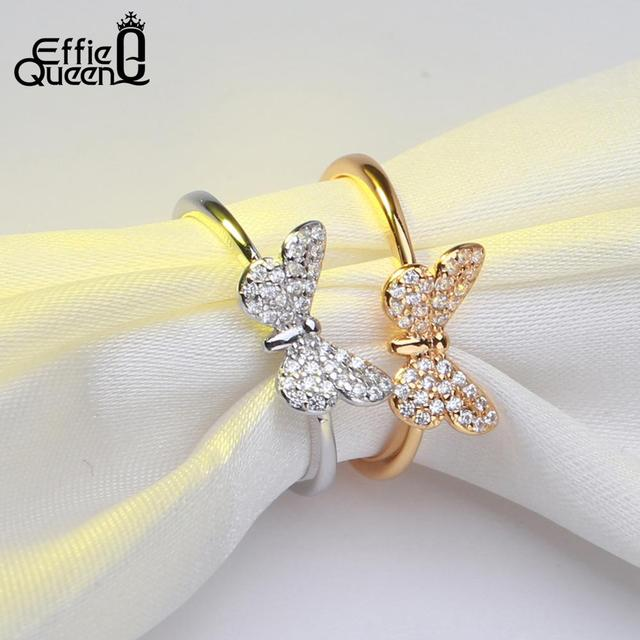 Effie Queen Elegant female Wedding Ring Real 925 Sterling Silver Rings Butterfly Shape With AAA Zircon Jewelry Gift BR59 2