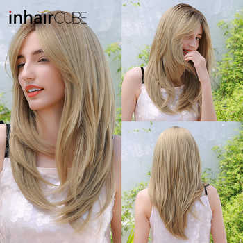 Inhaircube Long Straight Hair Ombre Blonde Hair Side Slit Synthetic Wigs For Women Heat Resistant Cosplay Natural Use Wig elegant blonde side bang capless long big wave heat resistant synthetic wig for women