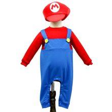 Детский костюм Марио на Хэллоуин комбинезон + шапка для малышей