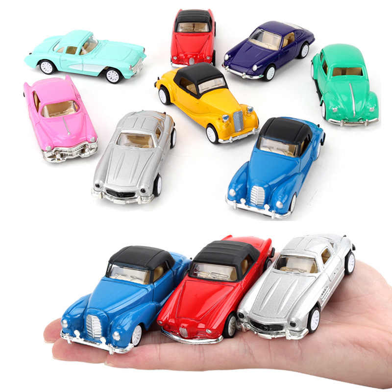 Children's toy car suit 1:64 kids toys Small alloy car retro classic car 8pcs/set Pull back with game mat