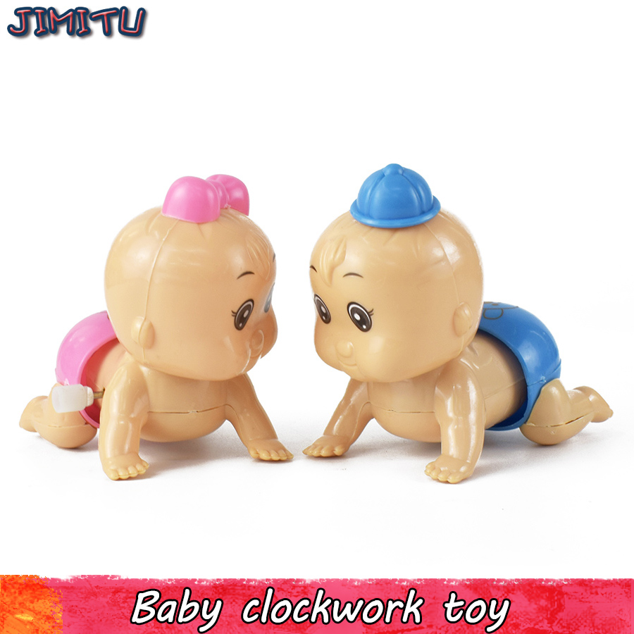 1pcs Newborn Baby Wind up Toy Funny Cartoon Clockwork Toys Crawling Baby Design Pull Back Toy for Kids Random Color Classic Toy