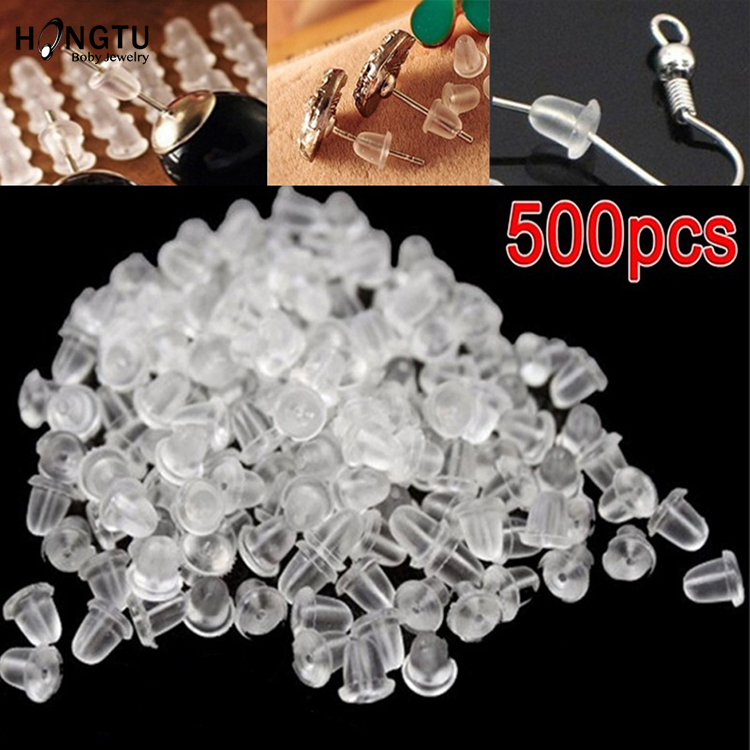 500PCS Rubber Earring Backs Hooks Stoppers Ear Post Nuts Findings Accessories For Jewelry Making Stud Earrings Diy Wholesale