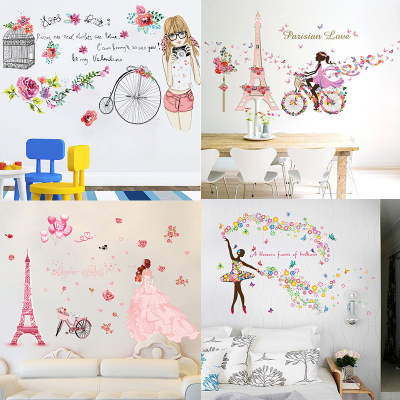 Butterfly Flower Fairy Stickers For Kids Rooms Girls Decals Poster Living Room