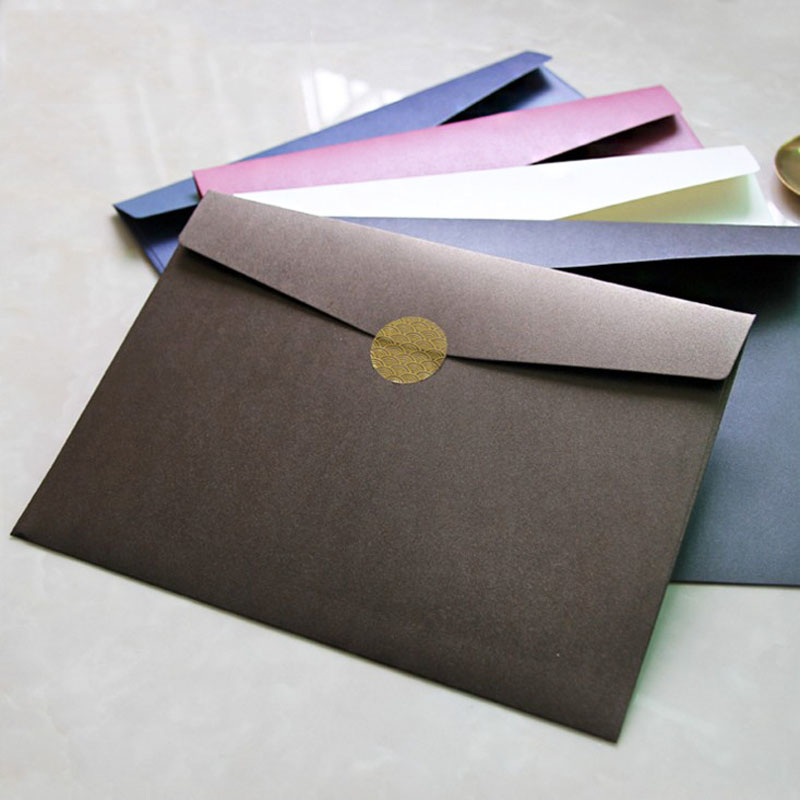 1 Pcs Super Large A4 Pearlescent Paper Envelope Love Envelopes For Document Bag Greeting Card Wedding Invitation