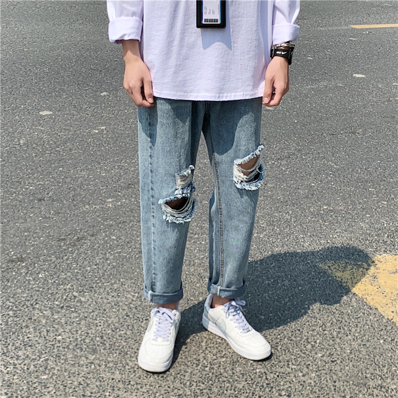 Torn Ripped Jeans Men's Fashion Washed Casual Straight Jeans Pants Men Streetwear Loose Hip Hop Hole Denim Trousers Mens S-3XL