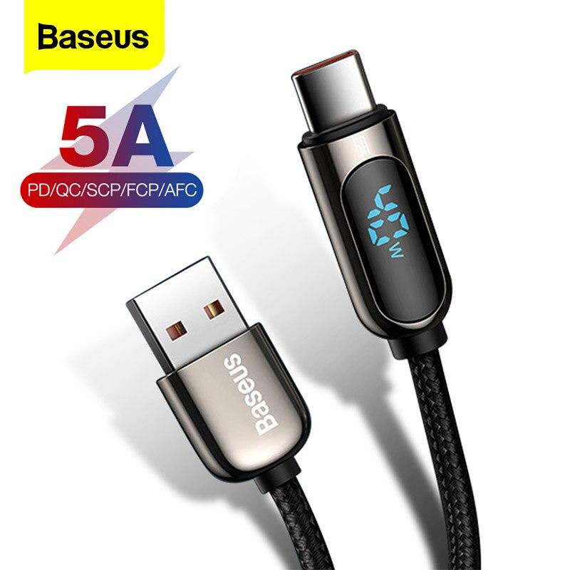 Baseus USB Typ C Kabel 5A Schnelle Lade Für Huawei Xiaomi Samsung LED Display USB C Telefon Ladegerät Kabel USB-C daten Draht Kabel