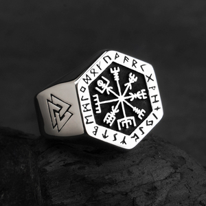 Image 5 - Vegvisir stainless steel  rings  for man  Nordic mythology Viking rune  Index Ring fashion jewelry