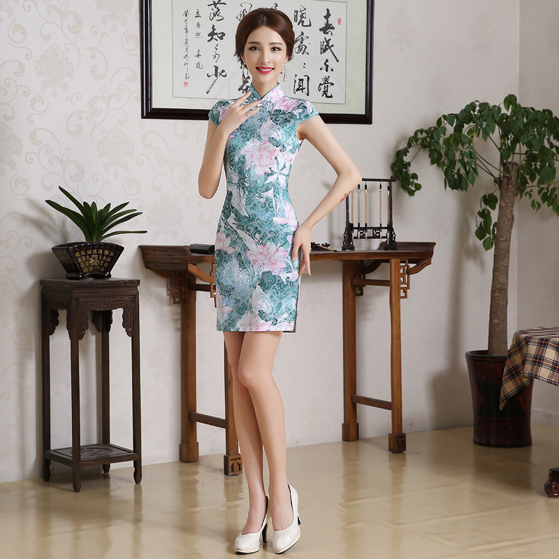 2019 Spring And Summer New Style Chinese Style Etiquette Banquet GIRL'S Cheongsam Chinese-style-Style Stand Collar Slimming Silk