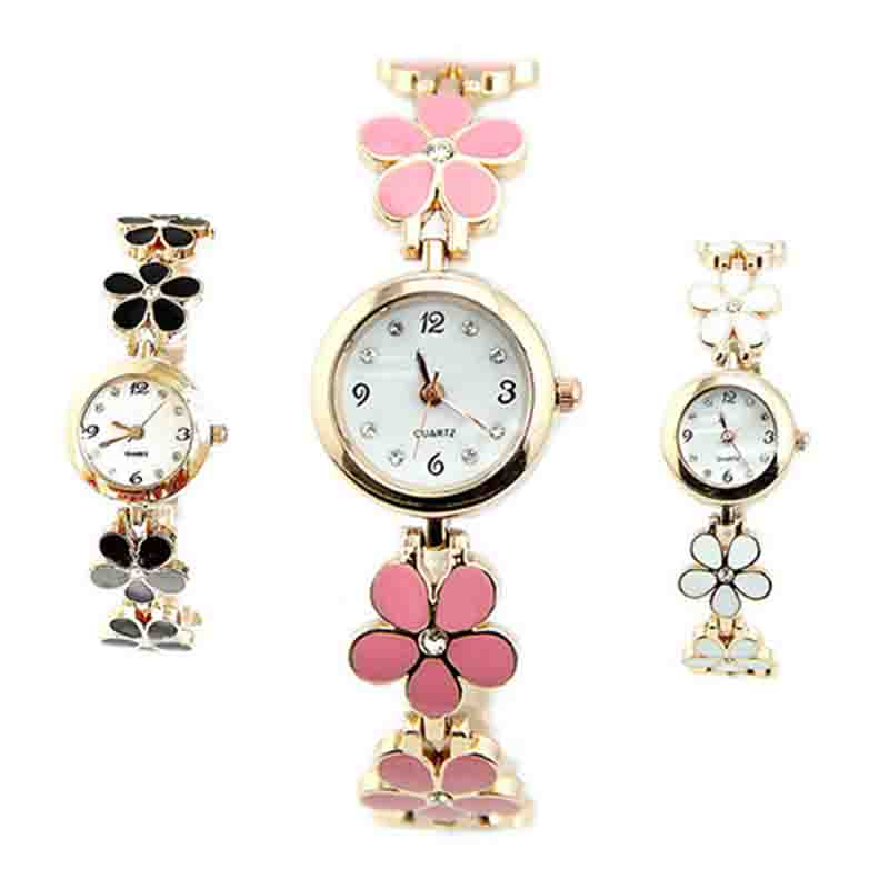Korean Style Bracelet Watch Women Girl Fashion Daisies Flower Rose Golden Watch Colck Women Watches Gift Reloj Mujer Hot Sales