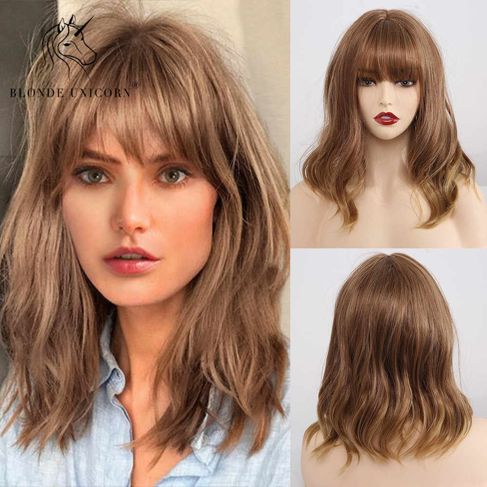 Blonde Unicorn 14 Inch Synthetic Short Curly BoB Wigs with Bangs Milk Tea Ombre Color Natural Hair Cosplay Party Wigs for Women