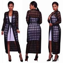 2019 NEW Fashion Womens Long Black Sleeve Maxi Plaid Checked Cardigan Kimono Hollow Jacket BlouseTop