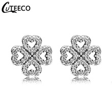 CUTEECO 2019 Simple Elegant Heart Shape Stud Earrings Silver Color Shining Zircon Wedding for Brides Fashion Jewelry