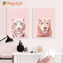 Pink Tiger Prints Lion Wall Art Nursery Wild Animals Blush Pastel Canvas Painting Kids Room Decor Poster unframed
