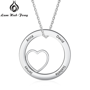 Personalized Name Necklace Round Heart P