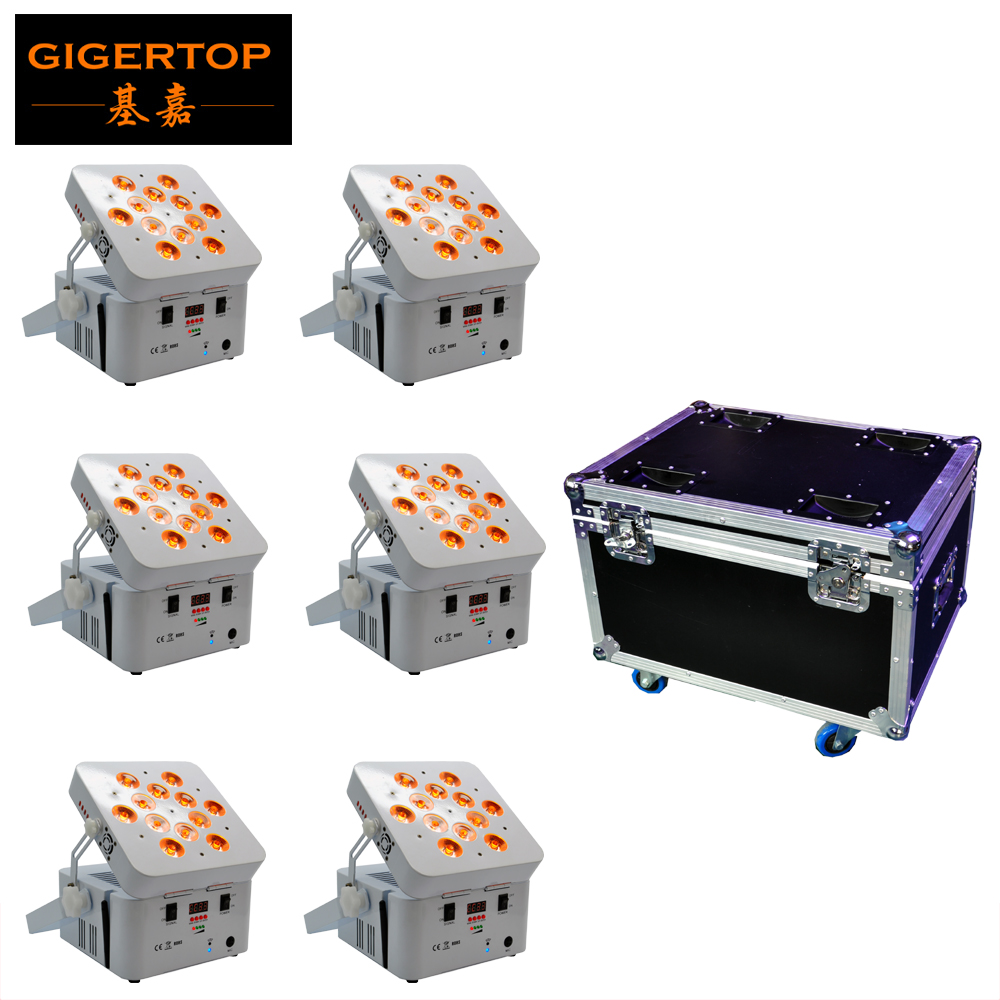 6IN1 Charging Flight Case Pack 12 X 18W White Housing Color Battery Wireless Stage DMX512 Led Par Light  6/10 Channels